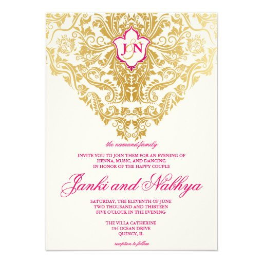 Fancy Flourishes Golden Indian Arabic Wedding Invite