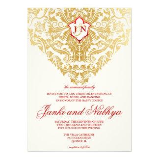 Fancy Flourishes Golden Indian Arabic Wedding Invitations