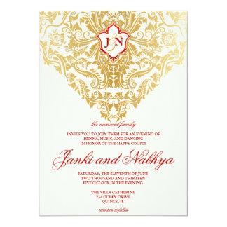 "Fancy Flourishes Golden Indian Arabic Wedding 4.5"" X 6.25"" Invitation Card"
