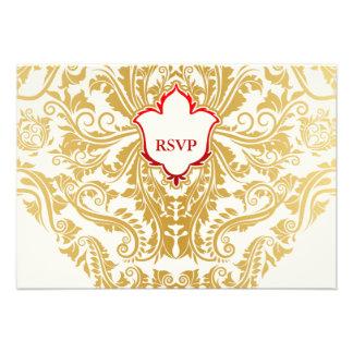 Fancy Flourishes Golden Indian Arabic Wedding Personalized Announcement