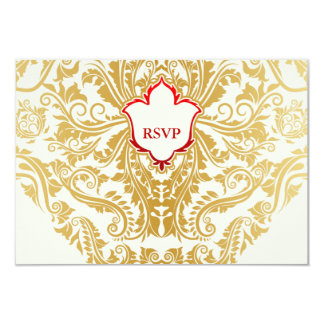 "Fancy Flourishes Golden Indian Arabic Wedding 3.5"" X 5"" Invitation Card"