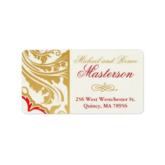 Fancy Flourishes Golden Indian Wedding Labes Address Label