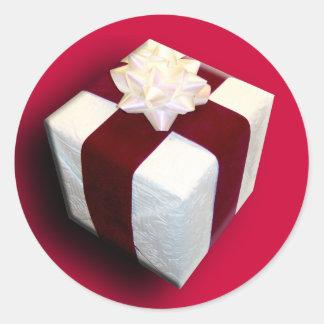Fancy Gift Wrap Christmas Season Designs Seals Round Sticker