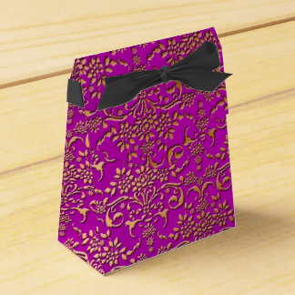 Fancy Gold and Fucshia Floral Damask Wedding Favour Boxes