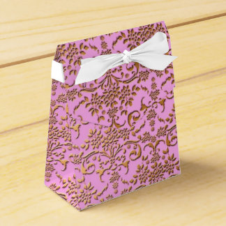 Fancy Gold and Pink Floral Damask Party Favour Box