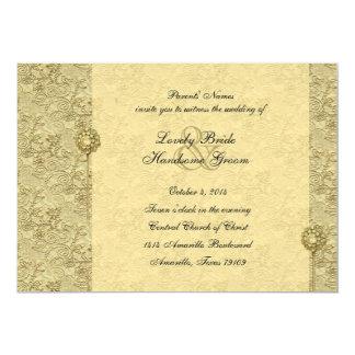 "Fancy Gold Vintage Brocade Wedding Invitations 5"" X 7"" Invitation Card"