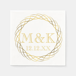 Fancy Golden Monogram Wedding Paper Napkin