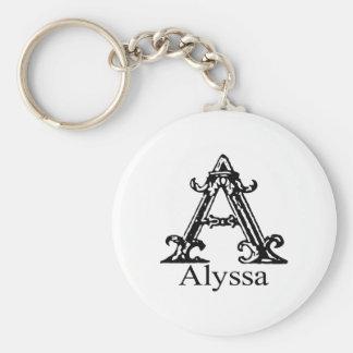 Fancy Monogram: Alyssa Key Ring
