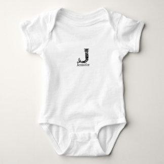 Fancy Monogram: Jennifer Baby Bodysuit