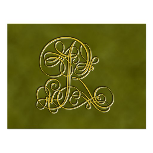 Fancy monogram letter r post card zazzle for Party wall act letter to neighbour
