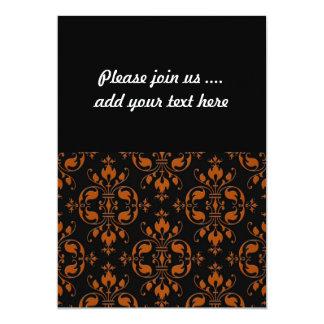Fancy Orange and Black Damask 13 Cm X 18 Cm Invitation Card