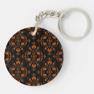 Fancy Orange and Black Damask Double-Sided Round Acrylic Key Ring