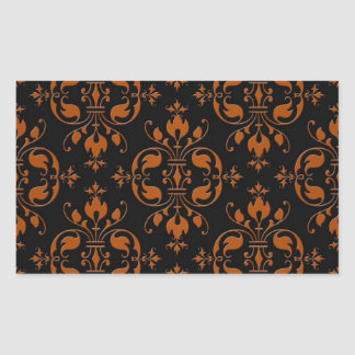Fancy Orange and Black Damask Rectangular Sticker