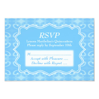 Fancy Patterned Pastel Blue Quinceanera Card