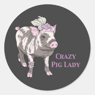Fancy Pig Lady Round Sticker