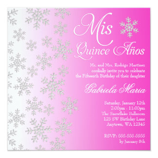 Fancy Pink Snowflake Winter Wonderland Quinceanera 13 Cm X 13 Cm Square Invitation Card