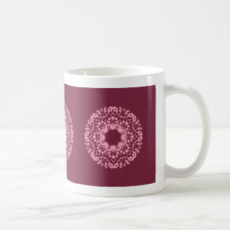 Fancy pink victorian motif on burgundy coffee mug