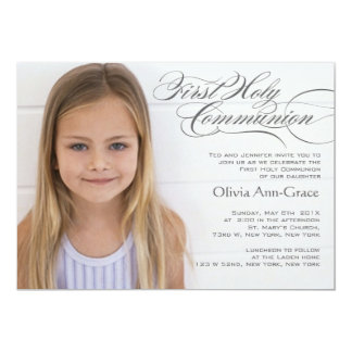 Fancy Script and Photo First Communion Invitations