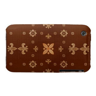 Fancy Shapes on Brown iPhone 3 Case-Mate Cases