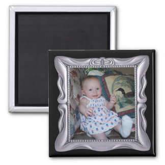 Fancy Silver Frame Add Photo Here Magnet