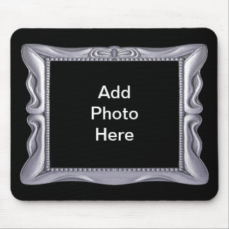Fancy Silver Frame Add Photo Here Mouse Pad