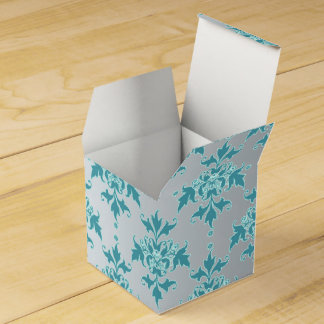 Fancy Silvery Grey and Turquoise Floral Damask Party Favour Box