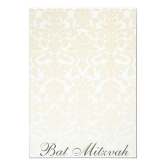 Fancy & Simple Beige Damask Bat Mitzvah Invitation