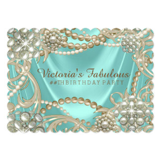 Fancy Teal Blue Ivory Pearl Birthday Party Card