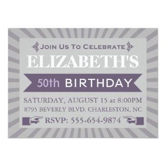 Fancy Ticket Purple 50th Birthday Party Invitation