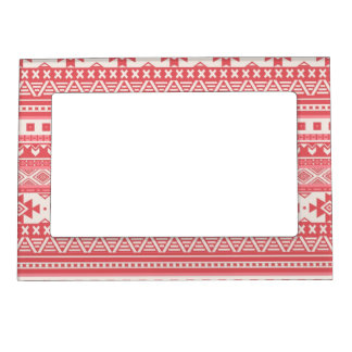 fancy tribal border pattern 08 red (I) Magnetic Picture Frame