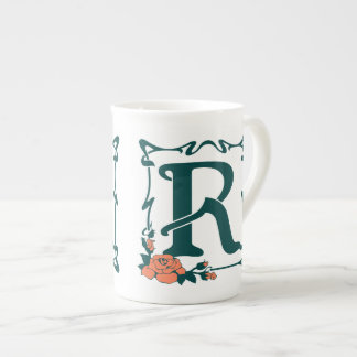 Fancy vintage art nouveau letter R Tea Cup
