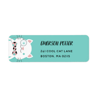 Fancy White Cat | Turquoise