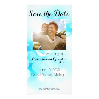 Fantasy Blue Bubbles - Save the Date Photo Card