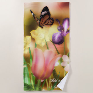 Fantasy butterfly garden Beach towel