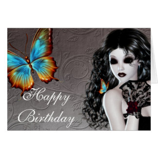 Fantasy Butterfly Goth Woman Birthday Card