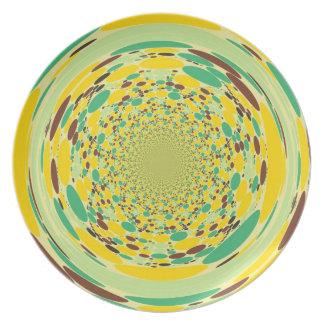 Fantasy Colorful Dots Abstract Retro Art Deco Plate