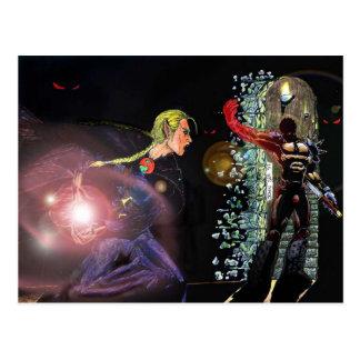 Fantasy Female Elfen Battle Cleric Postcard