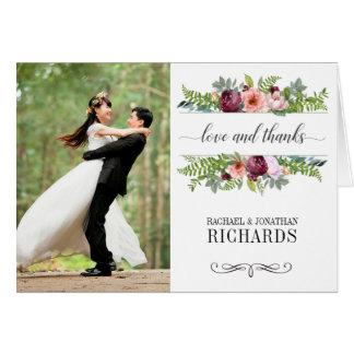 Fantasy Floral Wedding Photo Thank You Card