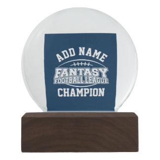 Fantasy Football Champion - Navy and White Snow Globe