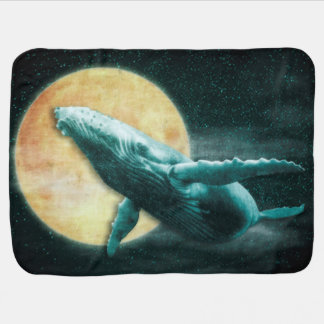 Fantasy Humpback Whale Flying to The Moon Baby Bla Baby Blanket
