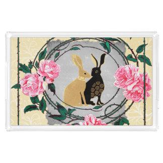 Fantasy Jackrabbit Hares Rose Romantic Collage Acrylic Tray