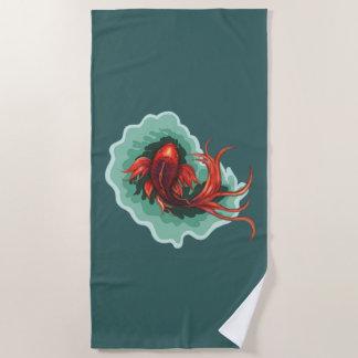 Fantasy Koi Dragon Beach Towel