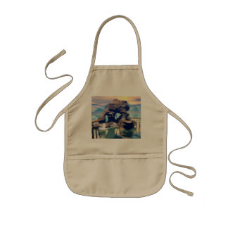 Fantasy landscape with a rock in the ocean kids apron