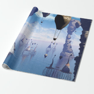 Fantasy landscape with fish house and zeppelin wrapping paper