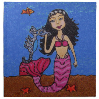 Fantasy Mermaid Pink Tail Seahorse Fish Starfish Napkin
