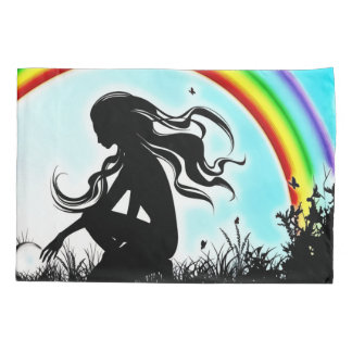 Fantasy Rainbow Faerie Silhouette Airbrush Art Pillowcase