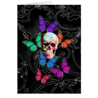 Fantasy skull and colored butterflies note card