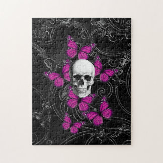 Fantasy skull and hot pink butterflies jigsaw puzzle