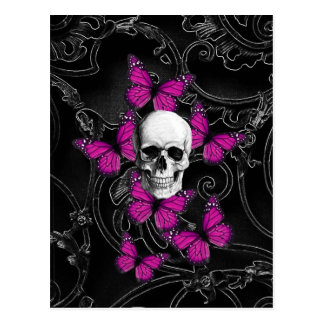 Fantasy skull and hot pink butterflies post cards