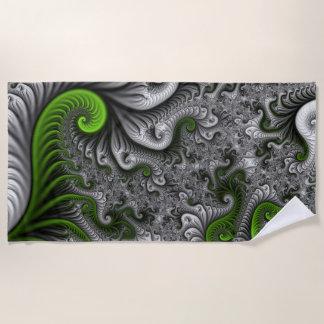Fantasy World Green And Gray Abstract Fractal Art Beach Towel